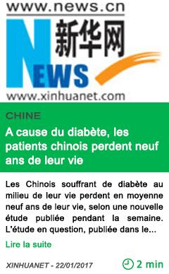 Science a cause du diabete les patients chinois perdent neuf ans de leur vie