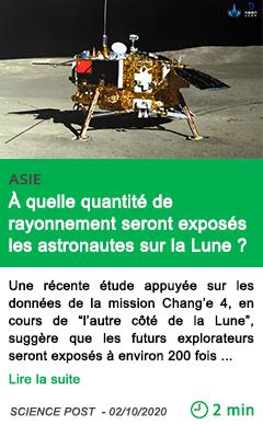 Science a quelle quantite de rayonnement seront expose s les astronautes sur la lune