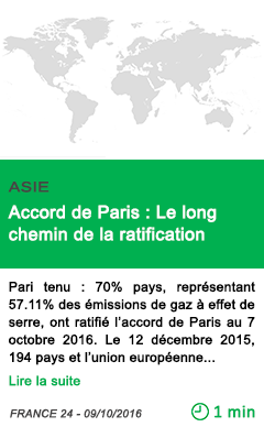Science accord de paris le long chemin de la ratification