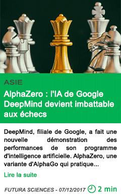 Science alphazero l ia de google deepmind devient imbattable aux echecs