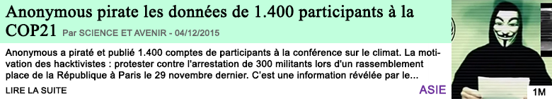 Science anonymous pirate les donnees de 1 400 participants a la cop21
