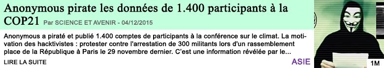 Science anonymous pirate les donnees de 1 400 participants a la cop21