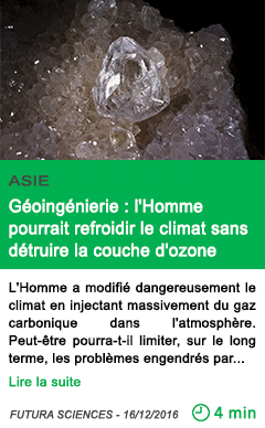 Science asie geoingenierie l homme pourrait refroidir le climat sans detruire la couche d ozone