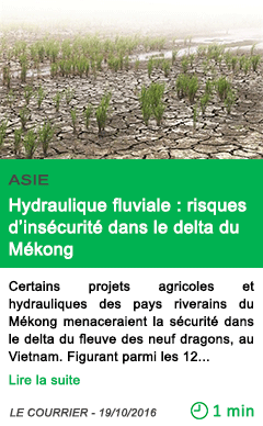 Science asie hydraulique fluviale risques d insecurite dans le delta du mekong