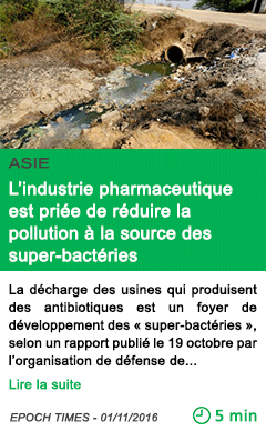 Science asie l industrie pharmaceutique est priee de reduire la pollution a la source des super bacteries