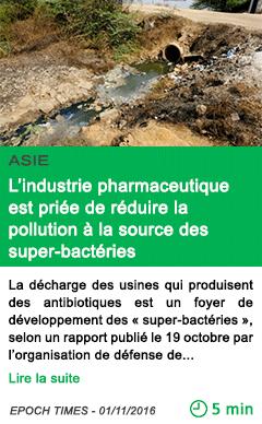 Science asie l industrie pharmaceutique est priee de reduire la pollution a la source des super bacteries
