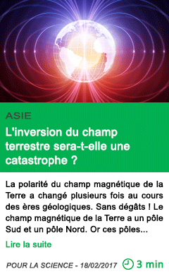 Science asie l inversion du champ terrestre sera t elle une catastrophe