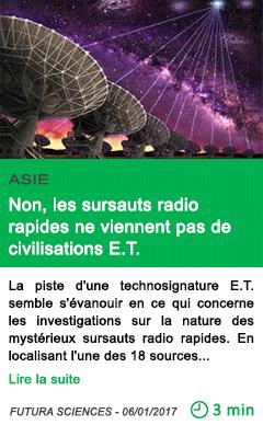 Science asie non les sursauts radio rapides ne viennent pas de civilisations e t 1