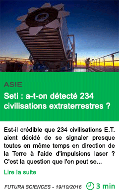 Science asie seti a t on detecte 234 civilisations extraterrestres