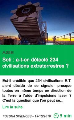 Science asie seti a t on detecte 234 civilisations extraterrestres