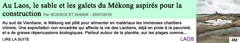 Science au laos le sable et les galets du mekong aspires pour la construction