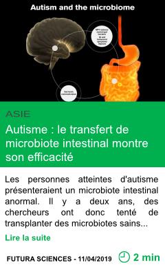 Science autisme le transfert de microbiote intestinal montre son efficacite page001