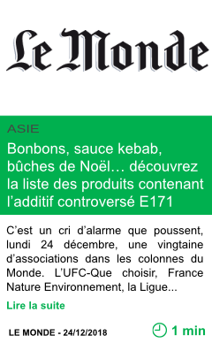 Science bonbons sauce kebab buches de noel decouvrez la liste des produits contenant l additif controverse e171 page001