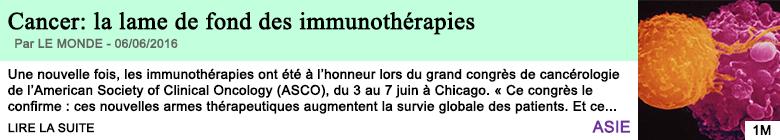Science cancer la lame de fond des immunotherapies