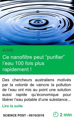 Science ce nanofiltre peut purifier l eau 100 fois plus rapidement page001