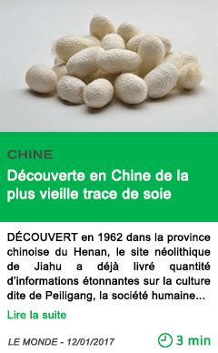 Science chine decouverte en chine de la plus vieille trace de soie