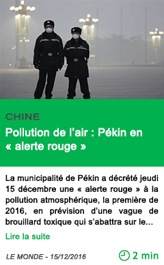 Science chine pollution de l air pekin en alerte rouge