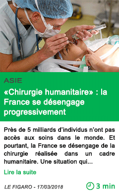 Science chirurgie humanitaire la france se desengage progressivement