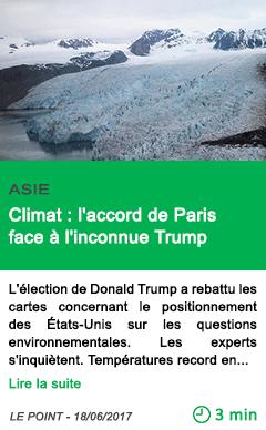 Science climat l accord de paris face a l inconnue trump