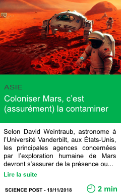 Science coloniser mars c est assurement la contaminer page001