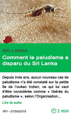Science comment le paludisme a disparu du sri lanka