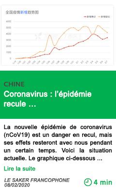 Science coronavirus l epidemie recule