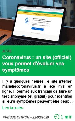 Science coronavirus un site officiel vous permet d evaluer vos symptomes