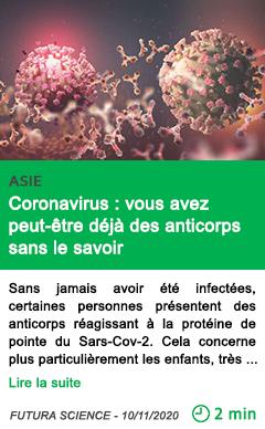 Science coronavirus vous avez peut e tre de ja des anticorps sans le savoir