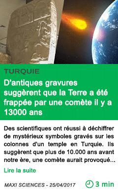 Science d antiques gravures suggerent que la terre a ete frappee par une comete il y a 13000 ans
