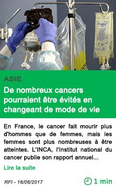 Science de nombreux cancers pourraient etre evites en changeant de mode de vie