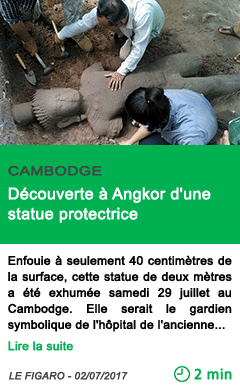 Science decouverte a angkor d une statue protectrice