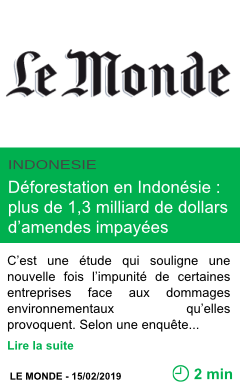 Science deforestation en indonesie plus de 1 3 milliard de dollars d amendes impayees page001