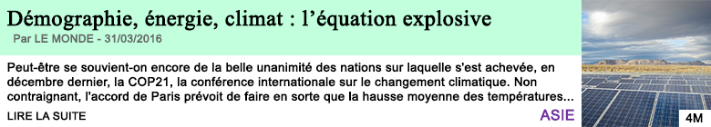 Science demographie energie climat l equation explosive