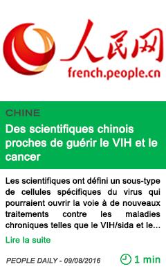 Science des scientifiques chinois proches de guerir le vih et le cancer