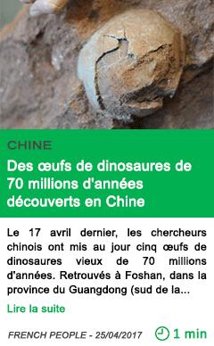 Science des ufs de dinosaures de 70 millions d annees decouverts en chine