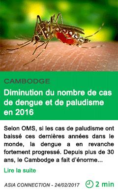Science diminution du nombre de cas de dengue et de paludisme en 2016