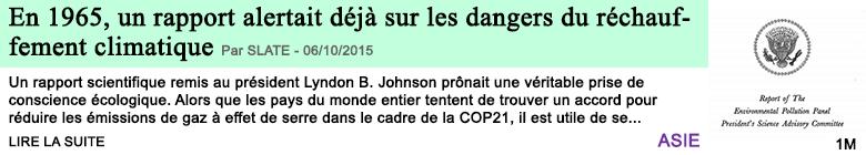 Science en 1965 un rapport alertait deja sur les dangers du rechauffement climatique