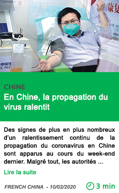 Science en chine la propagation du virus ralentit