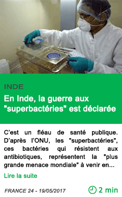 Science en inde la guerre aux superbacteries est declaree