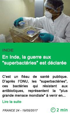 Science en inde la guerre aux superbacteries est declaree