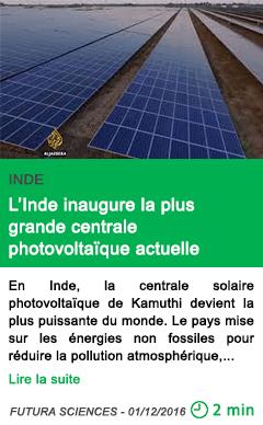 Science energie solaire l inde inaugure la plus grande centrale photovoltaique actuelle