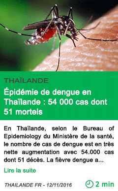 Science epidemie de dengue en thailande 54 000 cas dont 51 mortels