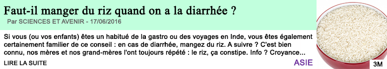 Science faut il manger du riz quand on a la diarrhee