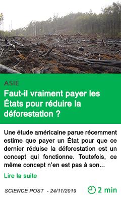 Science faut il vraiment payer les etats pour reduire la deforestation