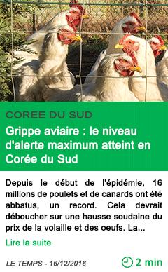 Science grippe aviaire le niveau d alerte maximum atteint en coree du sud