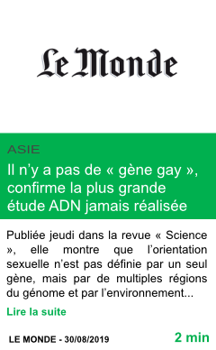 Science il n y a pas de gene gay confirme la plus grande etude adn jamais realisee page001