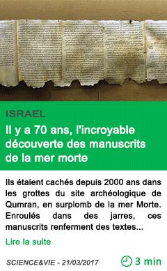 Science il y a 70 ans l incroyable decouverte des manuscrits de la mer morte