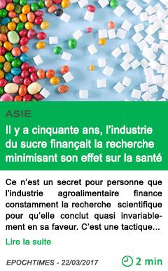 Science il y a cinquante ans l industrie du sucre financait la recherche minimisant son effet sur la sante
