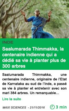 Science inde saalumarada thimmakka la centenaire indienne qui a dedie sa vie a planter plus de 300 arbres