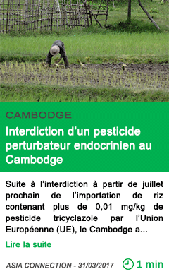 Science interdiction d un pesticide perturbateur endocrinien au cambodge